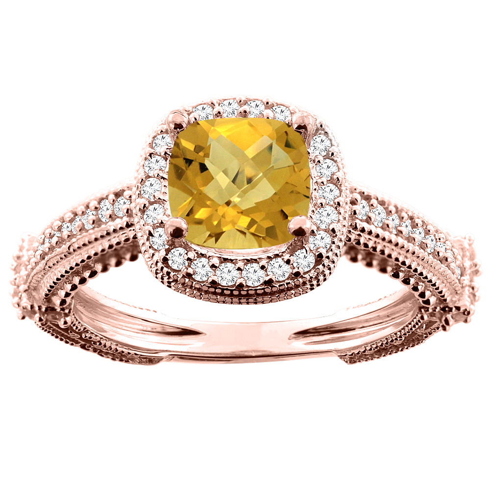 10K White/Yellow/Rose Gold Natural Whisky Quartz Ring Cushion 7x7mm Diamond Accent, sizes 5 - 10