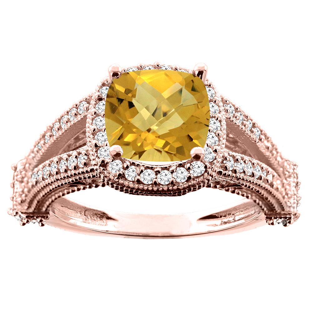14K White/Yellow/Rose Gold Natural Whisky Quartz Split Shank Ring Cushion 7x7mm Diamond Accent, sizes 5 - 10