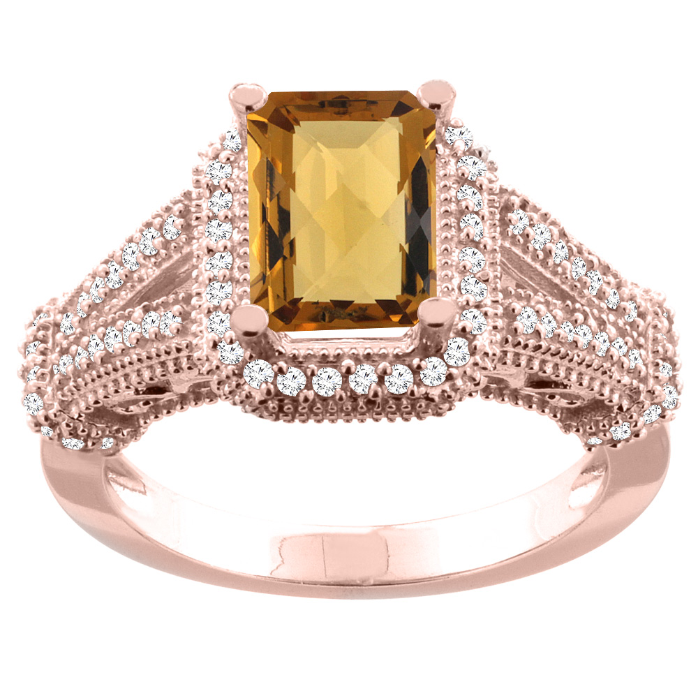 10K White/Yellow/Rose Gold Natural Whisky Quartz Ring Octagon 8x6mm Diamond Accent, sizes 5-10