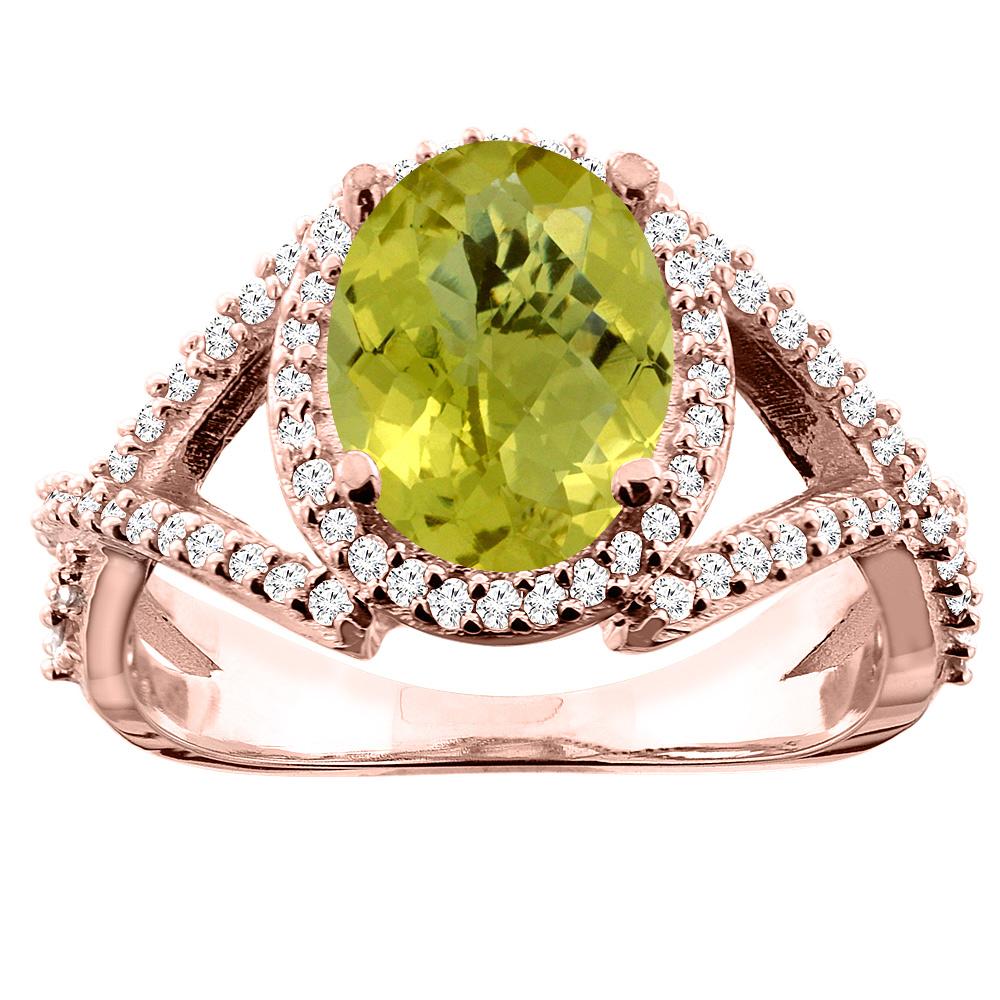 14K White/Yellow/Rose Gold Natural Lemon Quartz Ring Oval 10x8mm Diamond Accent, sizes 5 - 10