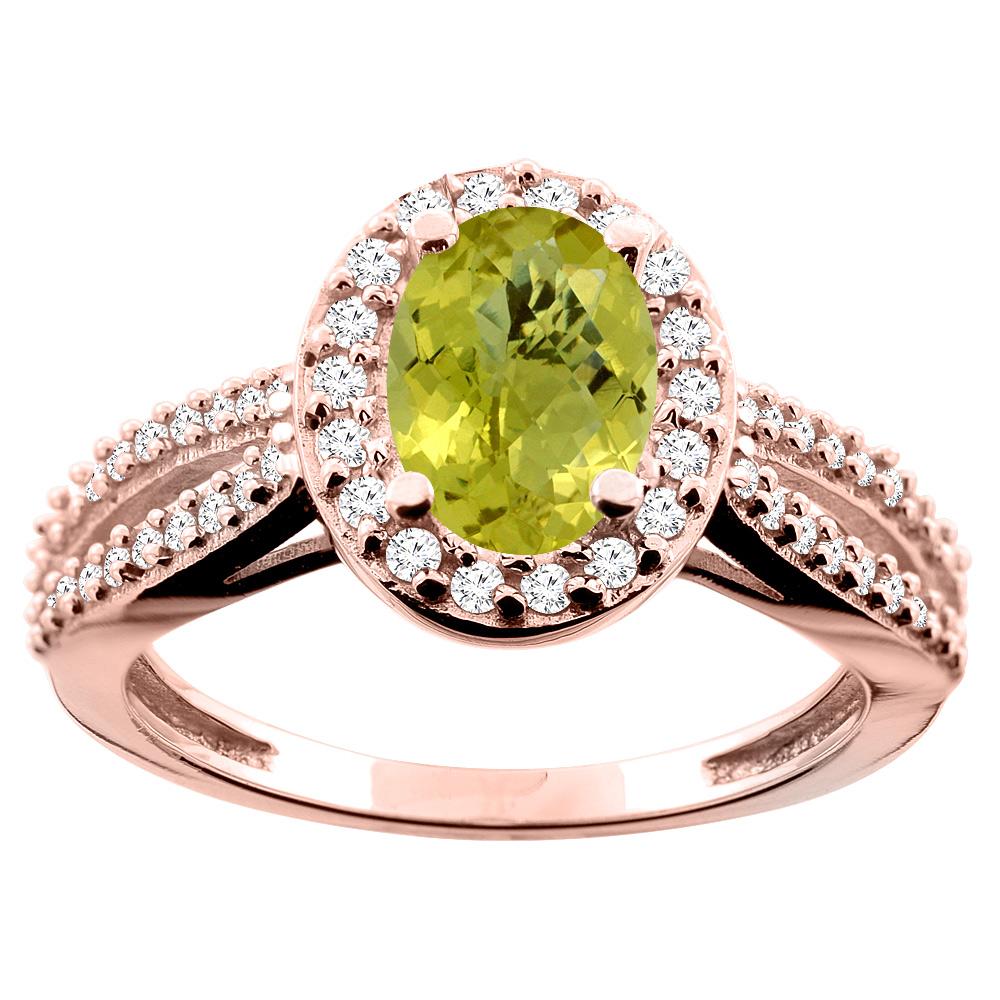 14K White/Yellow/Rose Gold Natural Lemon Quartz Ring Oval 8x6mm Diamond Accent, size 5