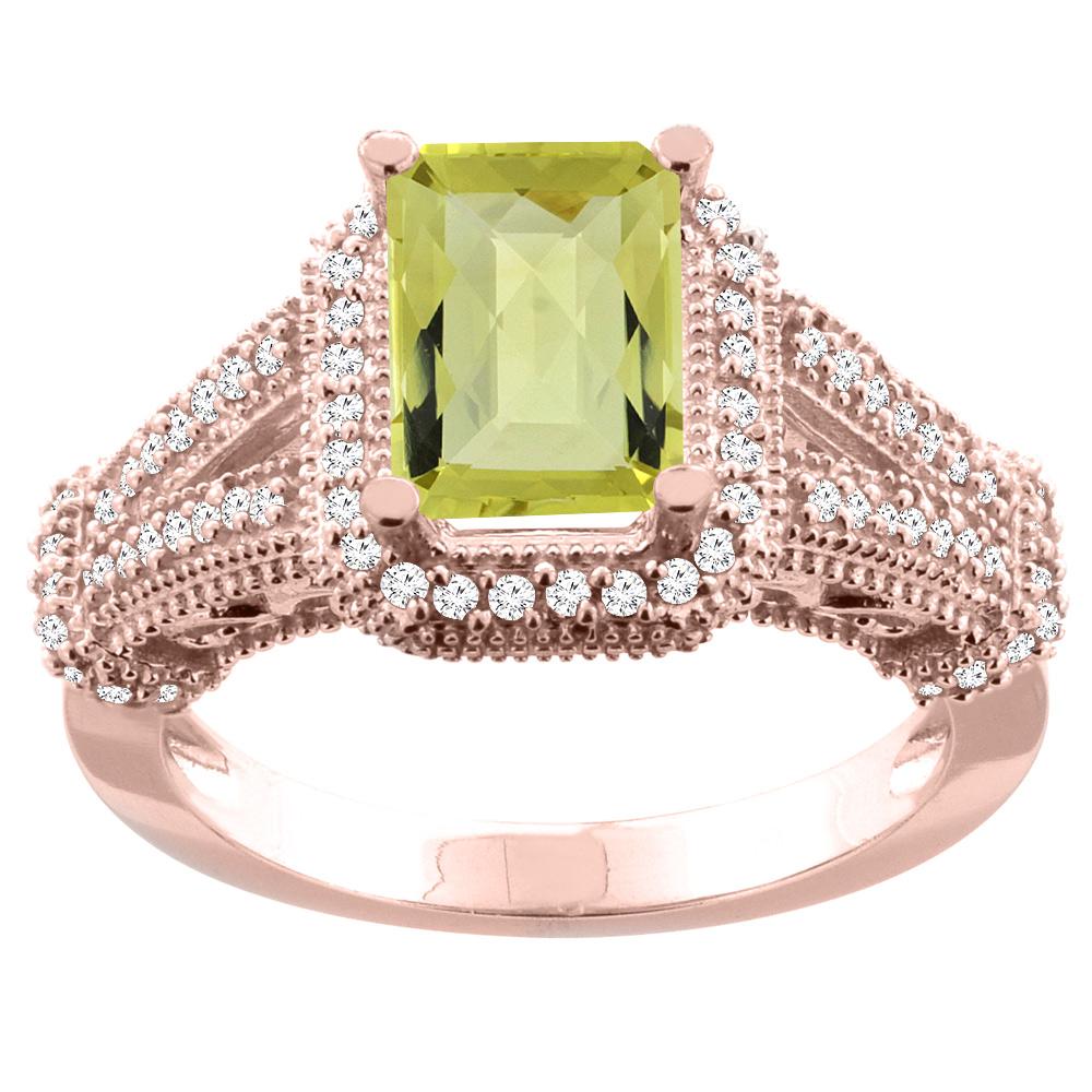 14K White/Yellow/Rose Gold Natural Lemon Quartz Ring Octagon 8x6mm Diamond Accent, sizes 5-10