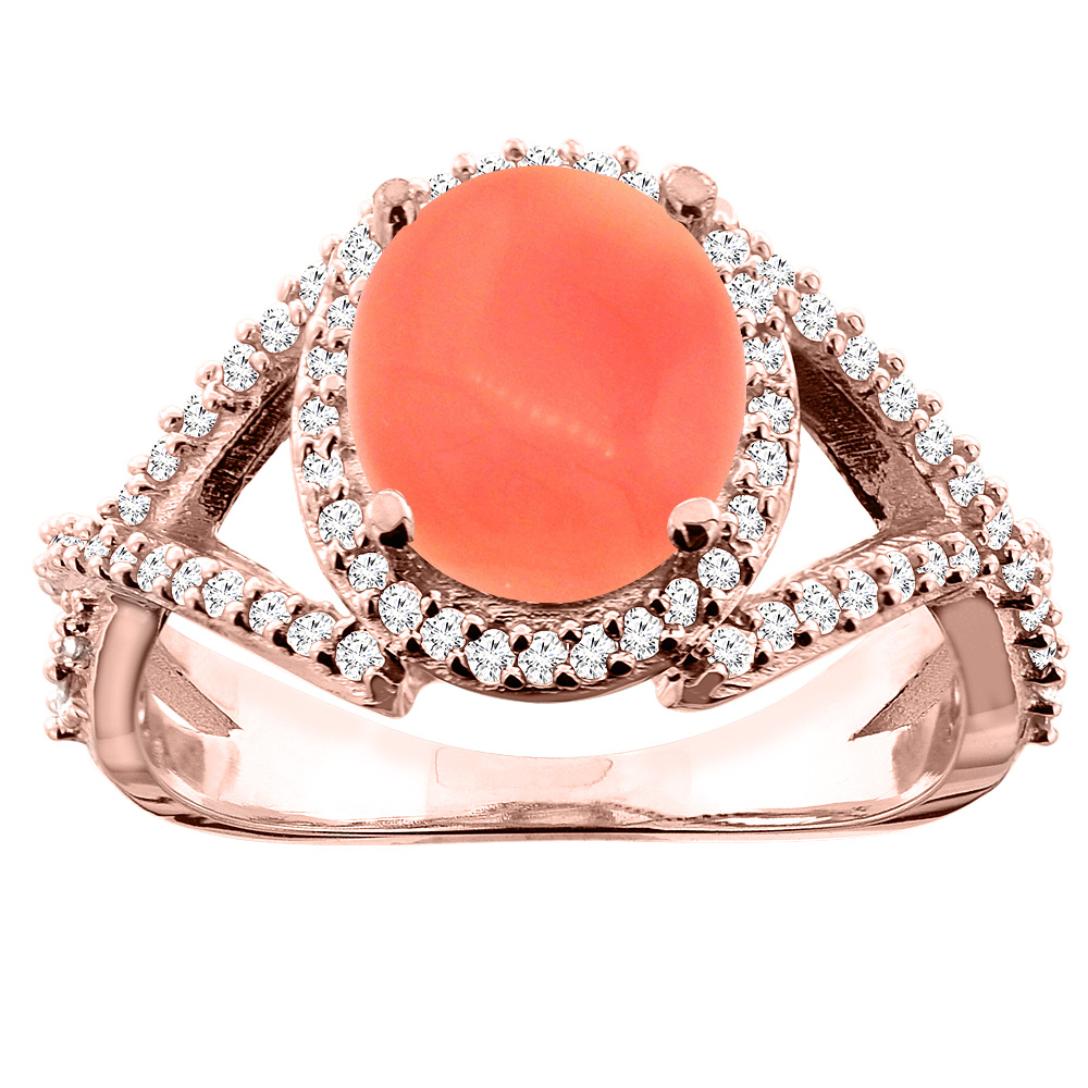 14K White/Yellow/Rose Gold Natural Coral Ring Oval 9x7mm Diamond Accent, size 5
