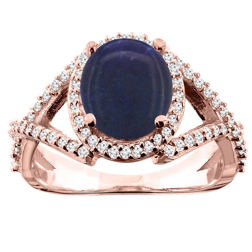 14K White/Yellow/Rose Gold Natural Lapis Ring Oval 9x7mm Diamond Accent, size 5