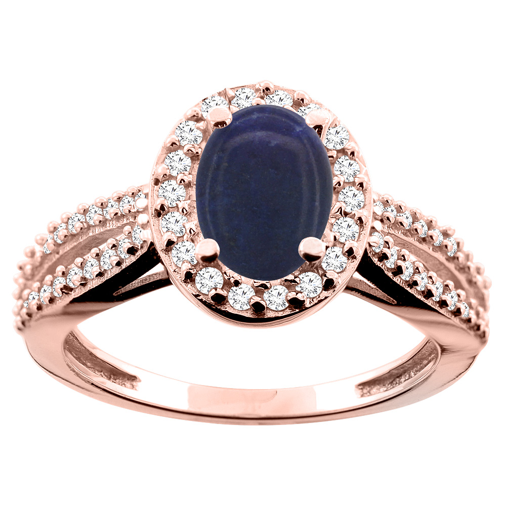 10K White/Yellow/Rose Gold Natural Lapis Ring Oval 8x6mm Diamond Accent, size 5