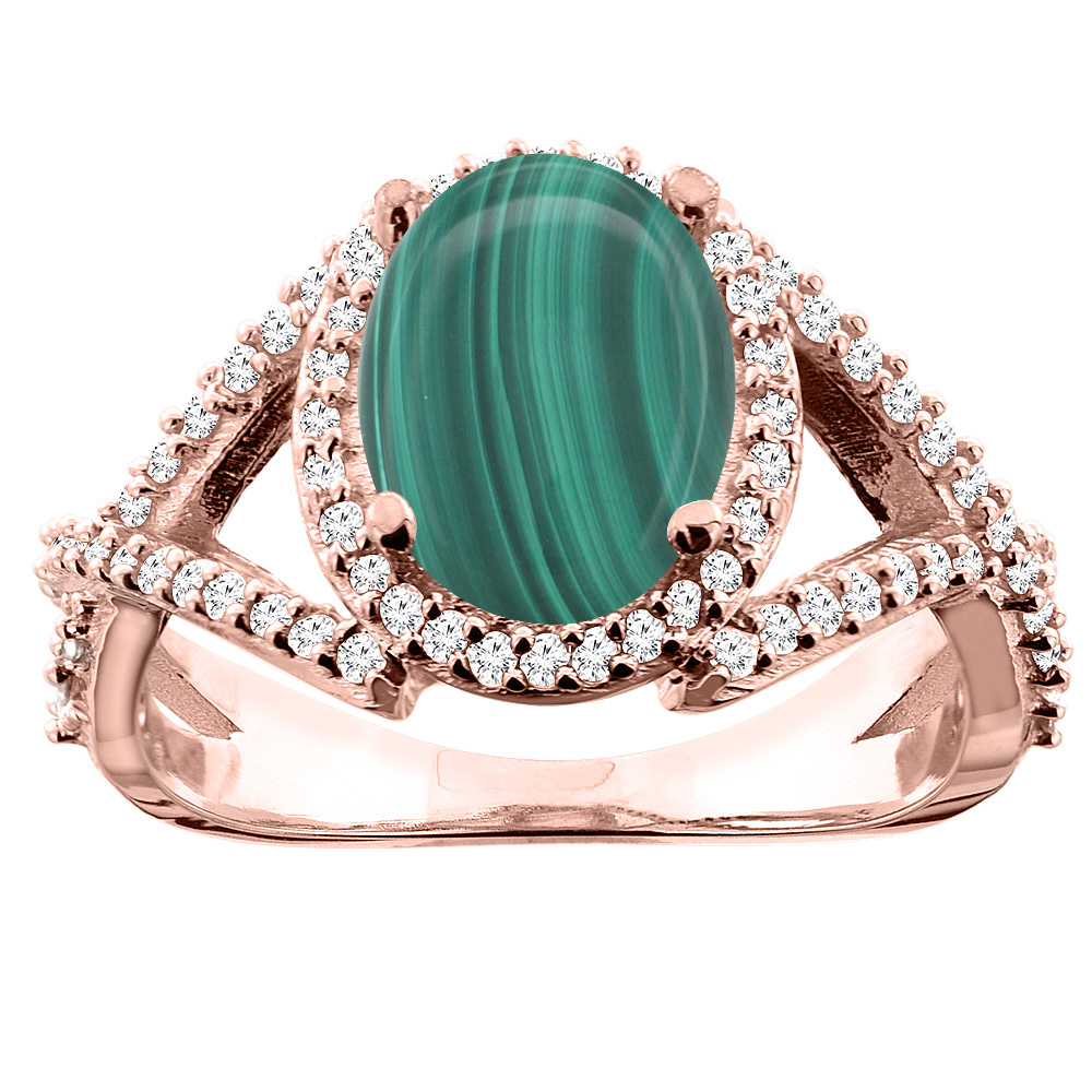 10K White/Yellow/Rose Gold Natural Malachite Ring Oval 10x8mm Diamond Accent, sizes 5 - 10