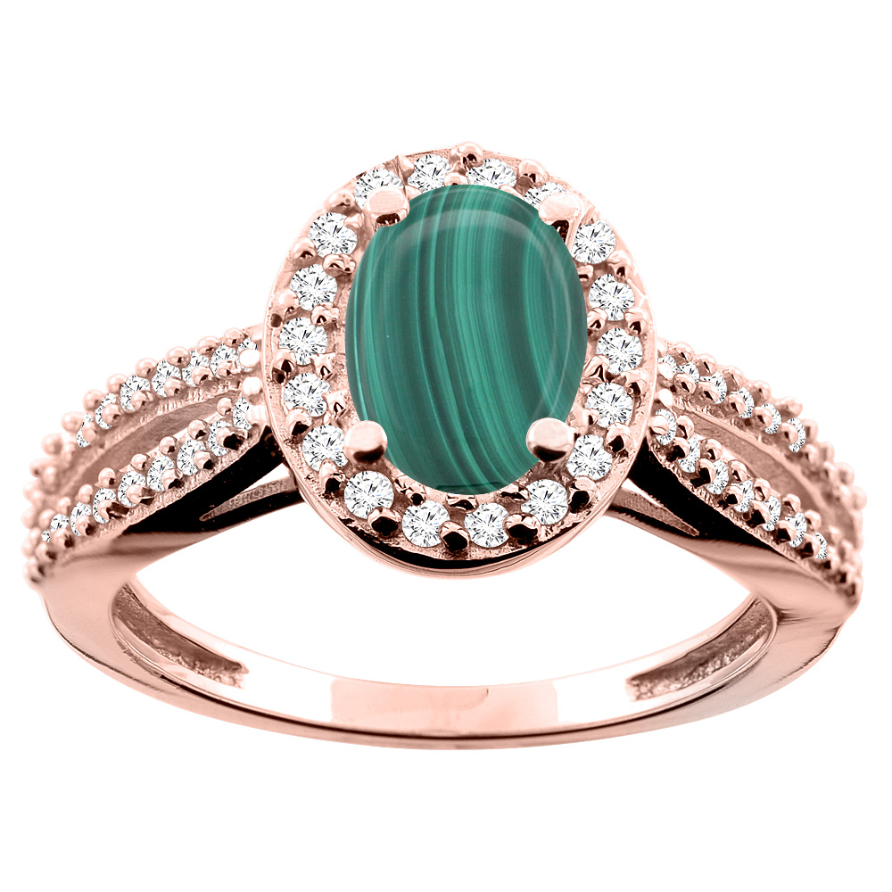 10K White/Yellow/Rose Gold Natural Malachite Ring Oval 8x6mm Diamond Accent, size 5