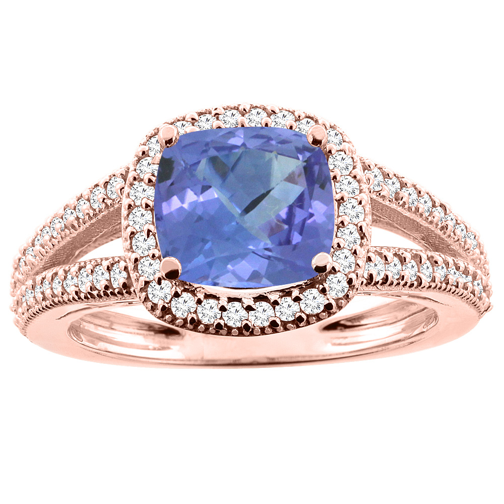 10K Rose Gold Natural Tanzanite Ring Cushion 7x7mm Diamond Accent 3/8 inch wide, sizes 5 - 10