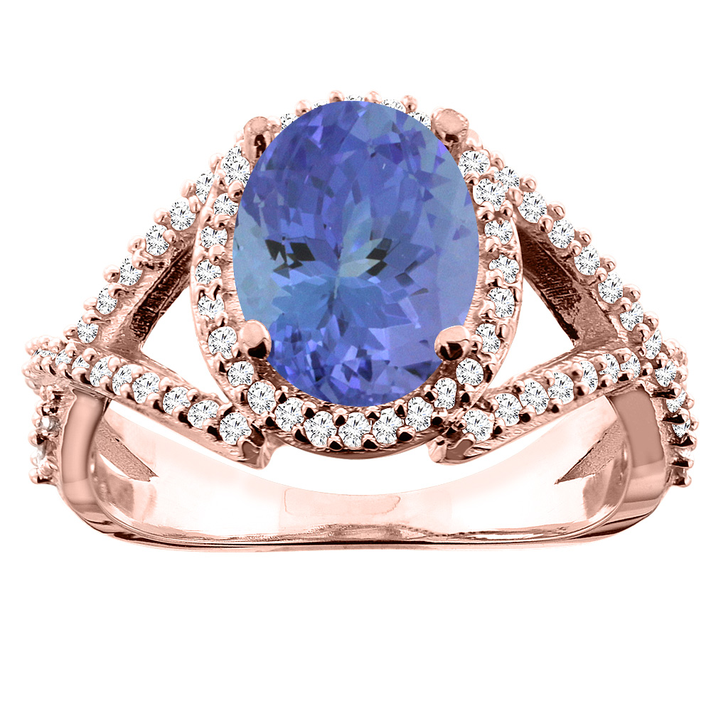 10K White/Yellow/Rose Gold Natural Tanzanite Ring Oval 10x8mm Diamond Accent, sizes 5 - 10