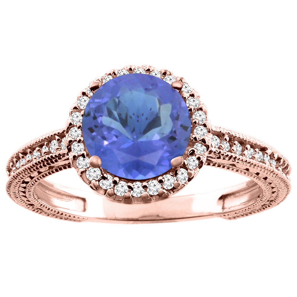 14K White/Yellow/Rose Gold Natural Tanzanite Ring Round 7mm Diamond Accent, sizes 5 - 10