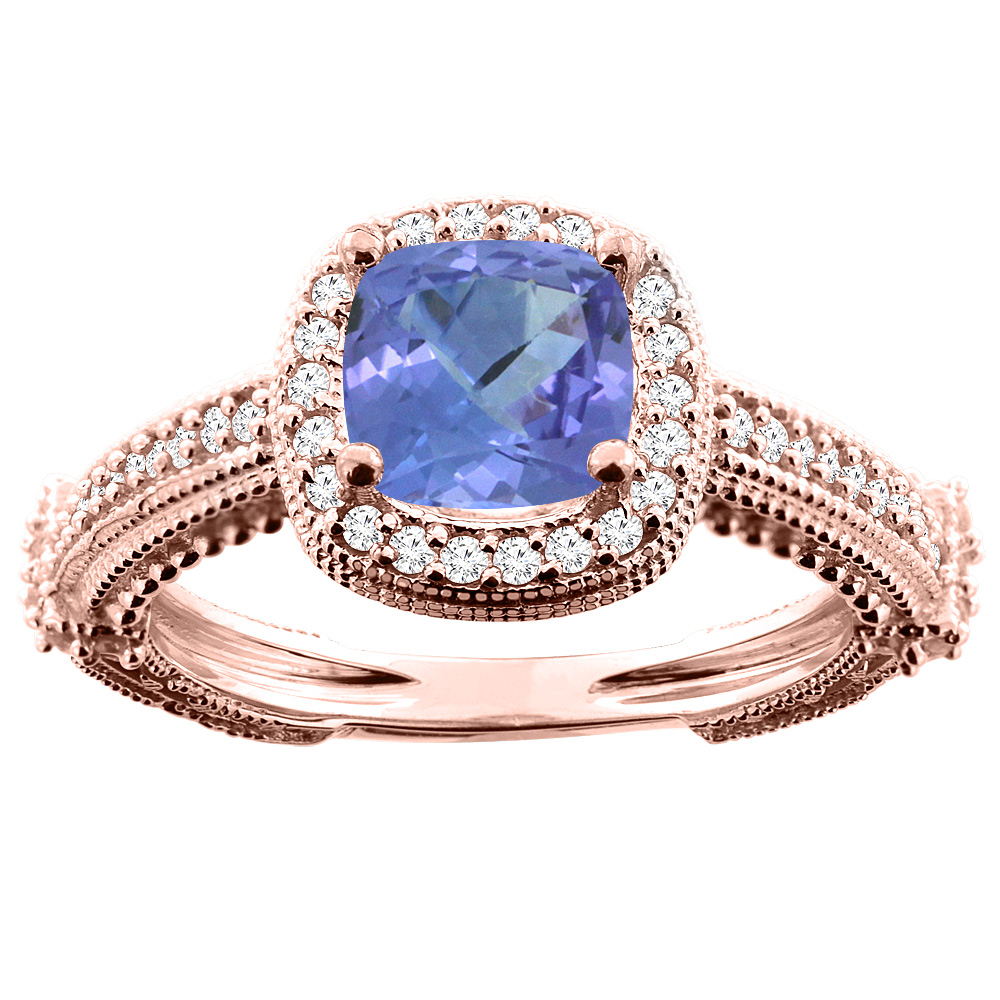 14K White/Yellow/Rose Gold Natural Tanzanite Ring Cushion 7x7mm Diamond Accent, sizes 5 - 10
