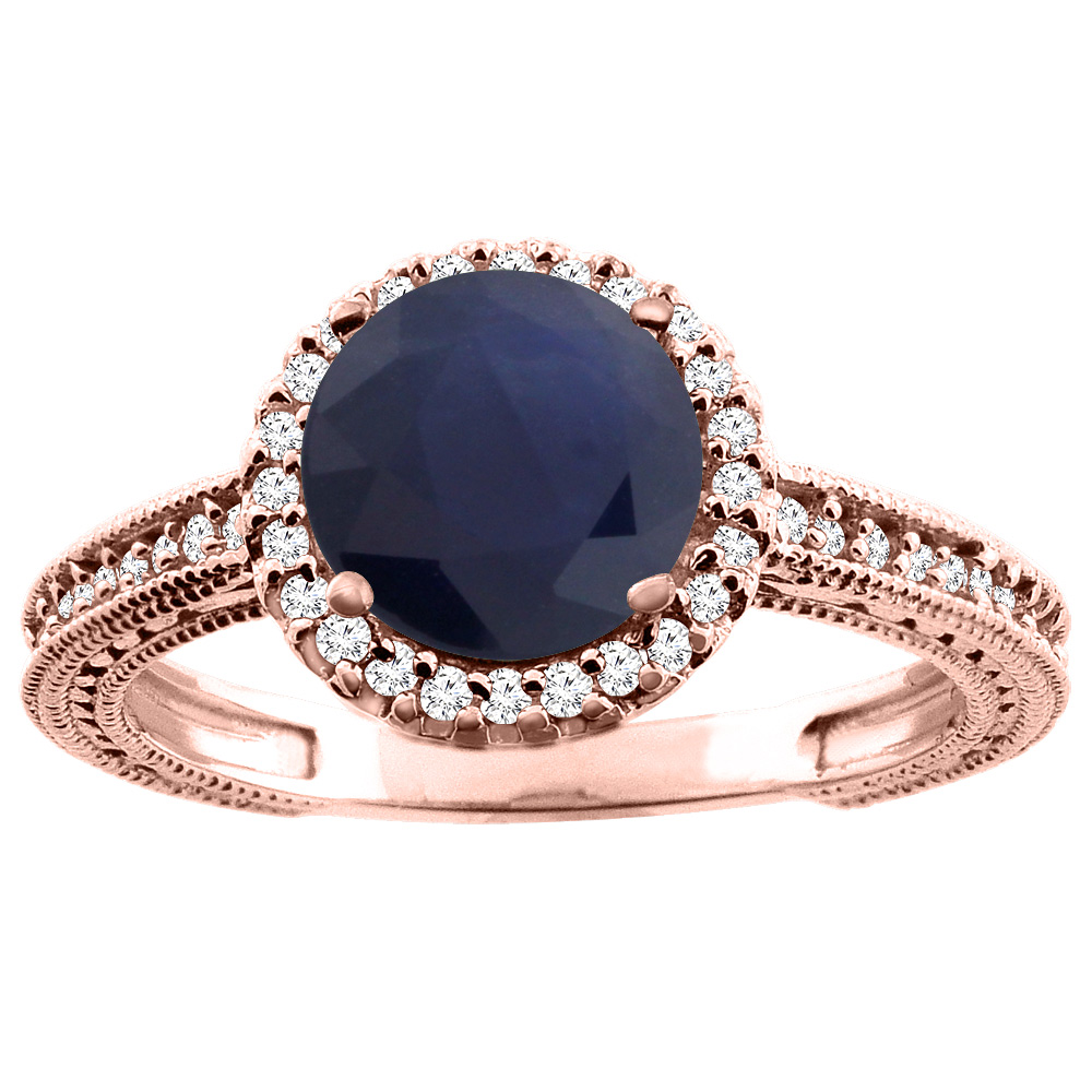 14K White/Yellow/Rose Gold Natural HQ Blue Sapphire Ring Round 7mm Diamond Accent, sizes 5 - 10
