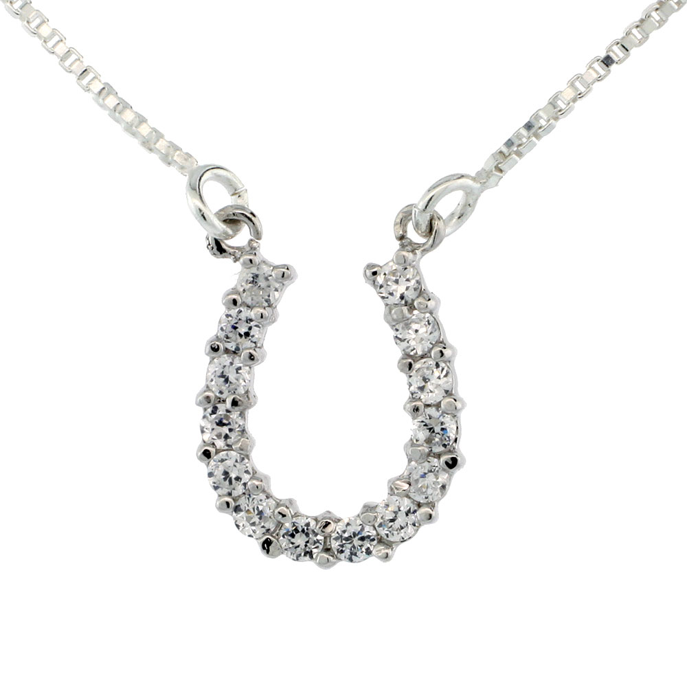 Sterling Silver Cubic Zirconia Horseshoe Box Chain Necklace, 7/16 inch wide
