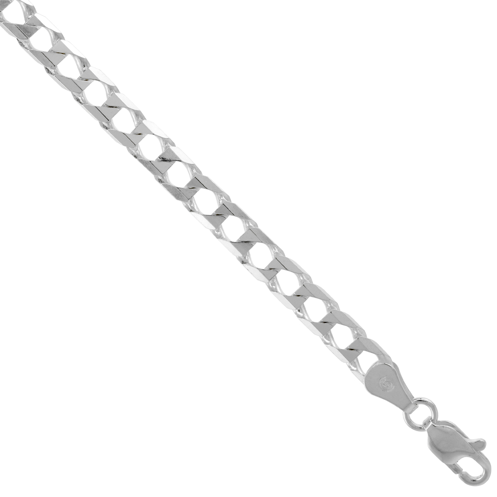 Sterling Silver SQUARE CURB CHAIN Necklaces & Bracelets 5mm Beveled Edges Nickel Free Italy, sizes 7 - 30 inch