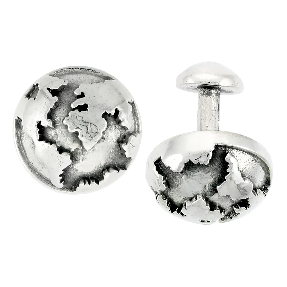 Sterling Silver Globular Cufflinks, 11/16 inch wide
