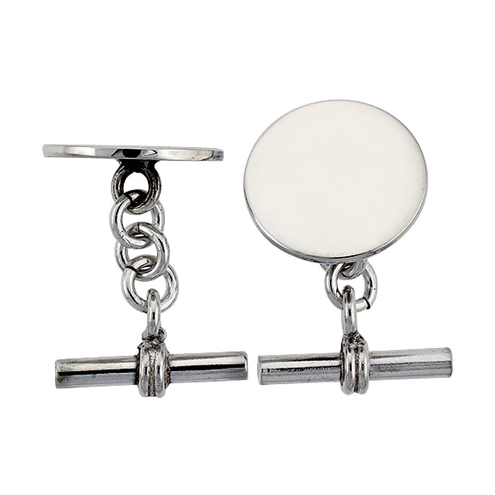 Sterling Silver Round Cufflinks, 11/16 inch wide