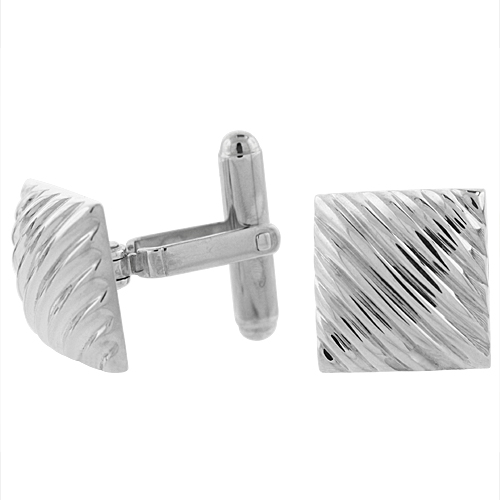 Sterling Silver Square Cufflinks Striped Swivel Bar, 5/8 inch wide