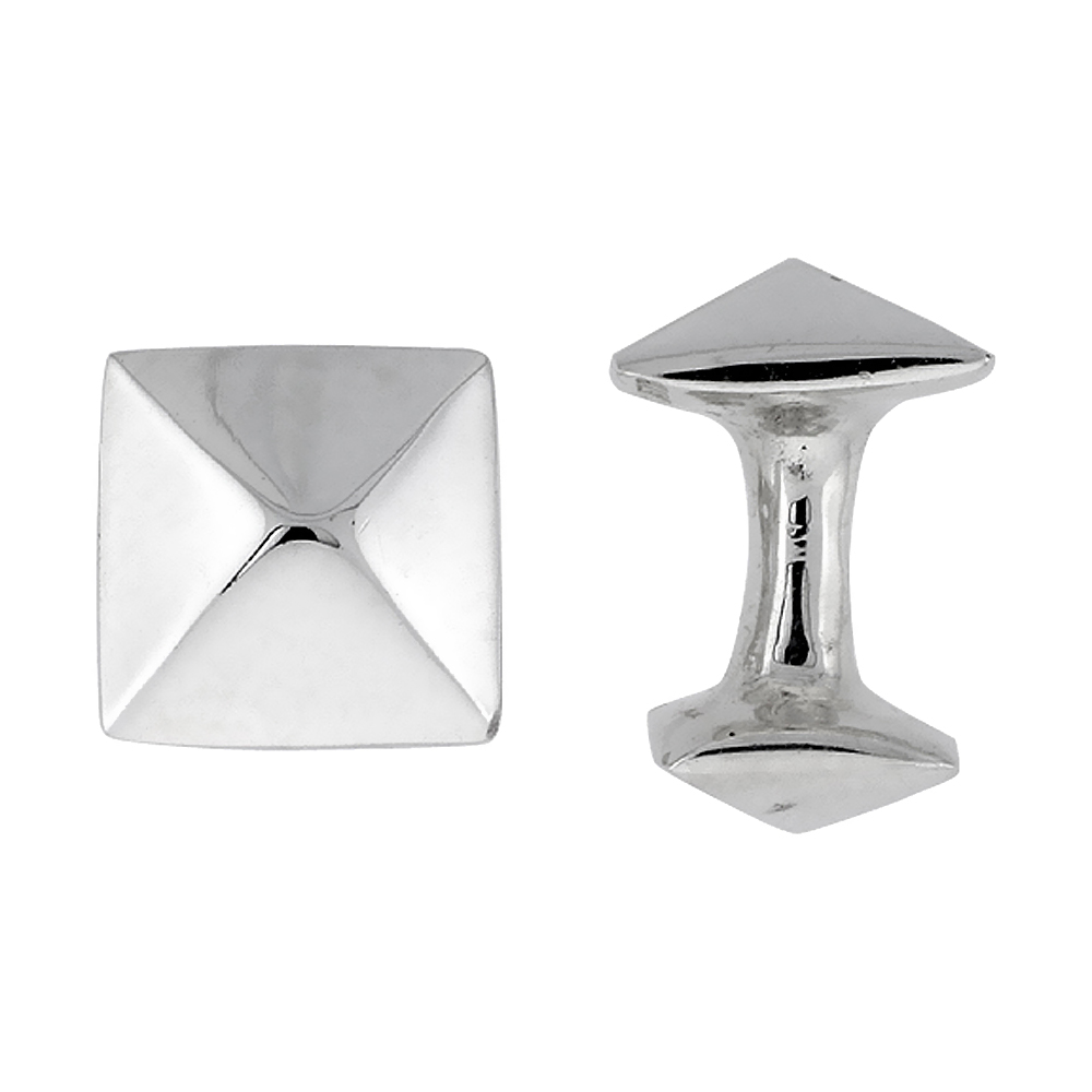 Sterling Silver Square Cufflinks Raised Center Swivel Bar, 5/8 inch wide