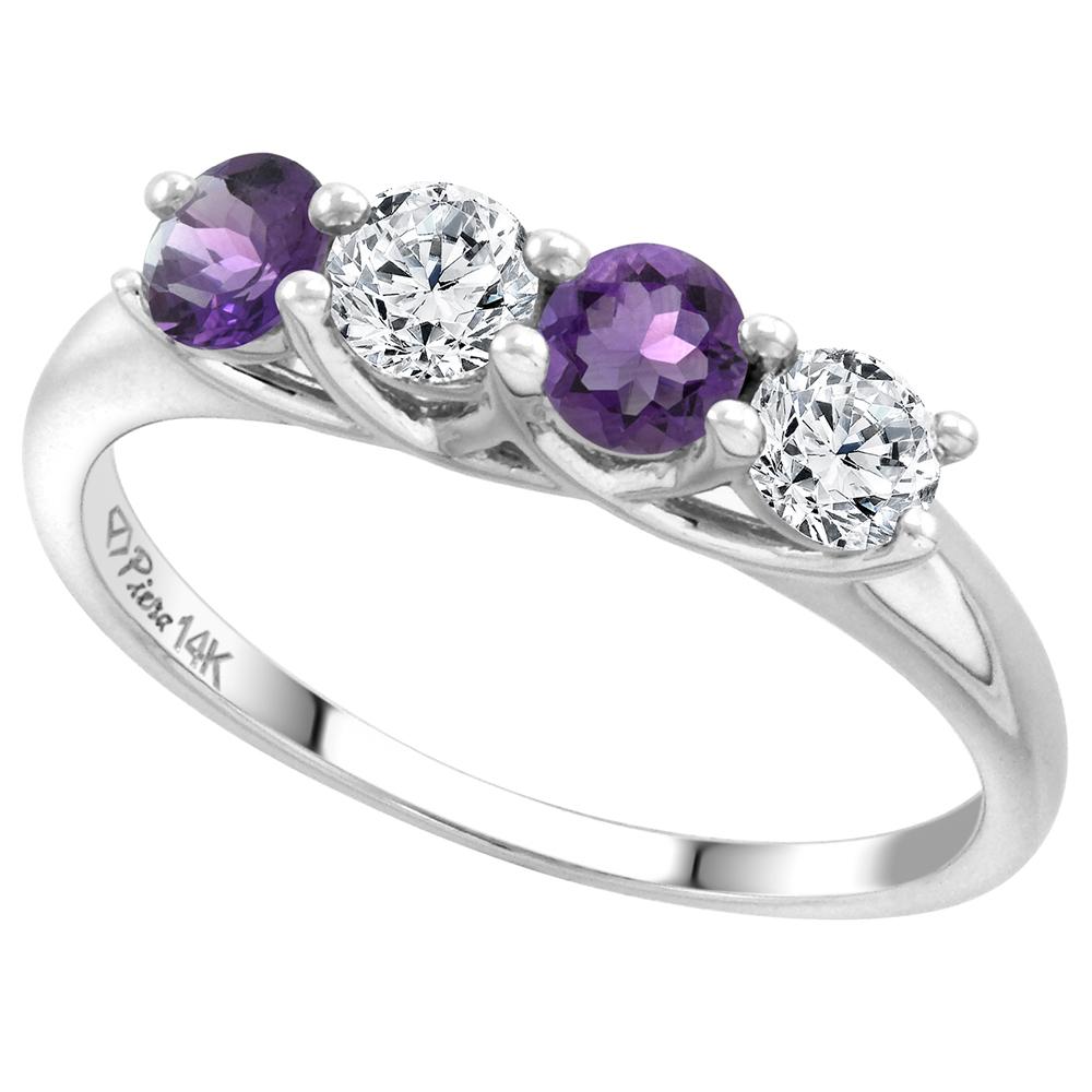 14k White Gold Alternating Genuine Gem & Diamond 4-Stone Ring Round Brilliant cut 0.4cttw 3.7mm size 5-10