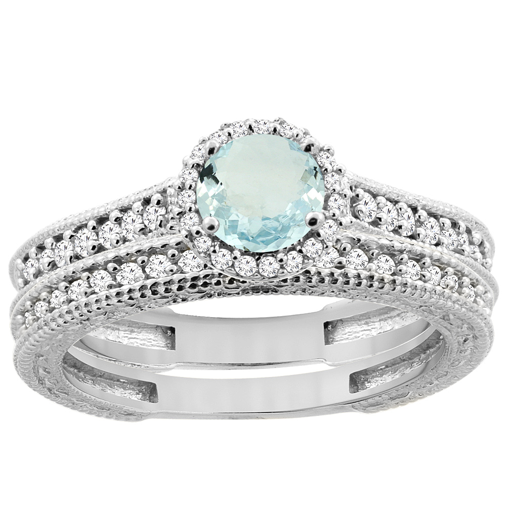 14K White Gold Natural Aquamarine Round 5mm Engagement Ring 2-piece Set Diamond Accents, sizes 5 - 10