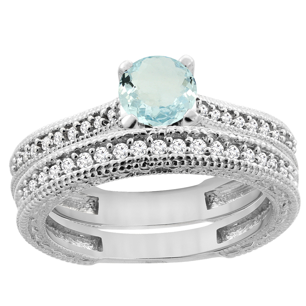14K White Gold Natural Aquamarine Round 5mm Engraved Engagement Ring 2-piece Set Diamond Accents, sizes 5 - 10