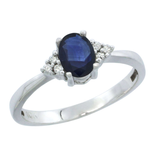 14k White Gold Ladies Natural Blue Sapphire Ring oval 6x4 Stone Diamond Accent, sizes 5-10