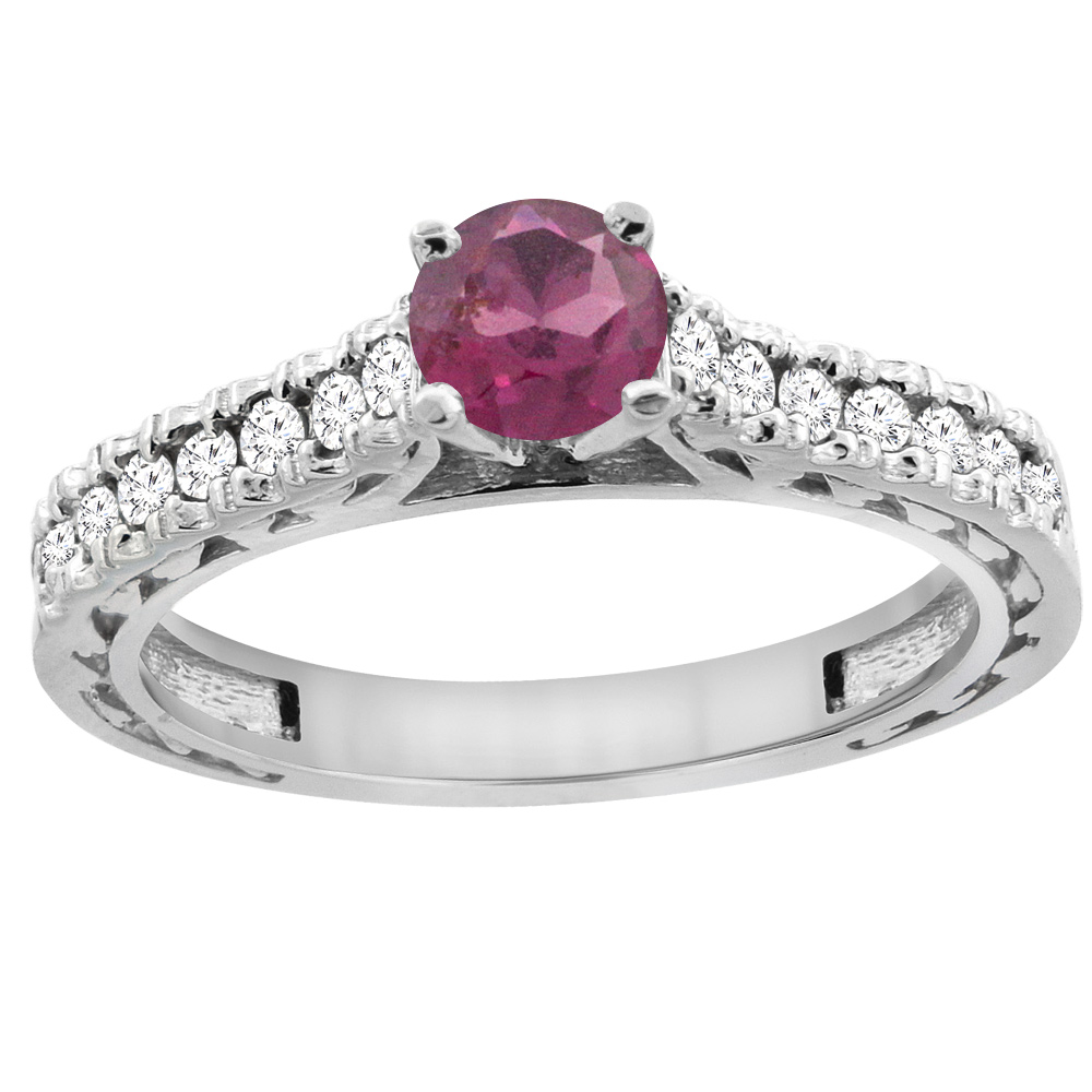 14K White Gold Natural Rhodolite Round 5mm Engraved Engagement Ring Diamond Accents, sizes 5 - 10