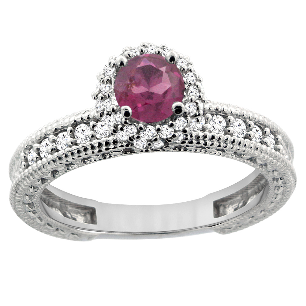 14K White Gold Natural Rhodolite Round 5mm Engagement Ring Diamond Accents, sizes 5 - 10