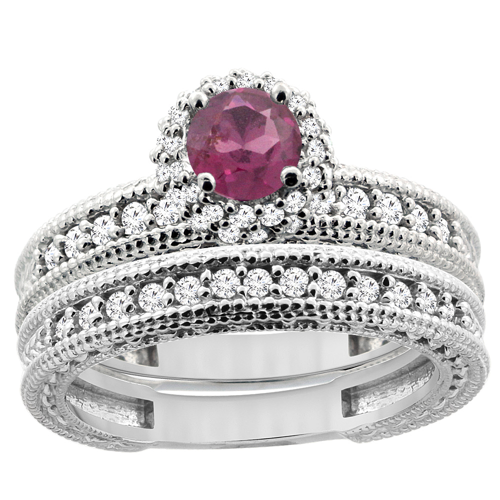 14K White Gold Diamond Natural Rhodolite Round 4mm Engagement Ring 2-piece Set, sizes 5 - 10