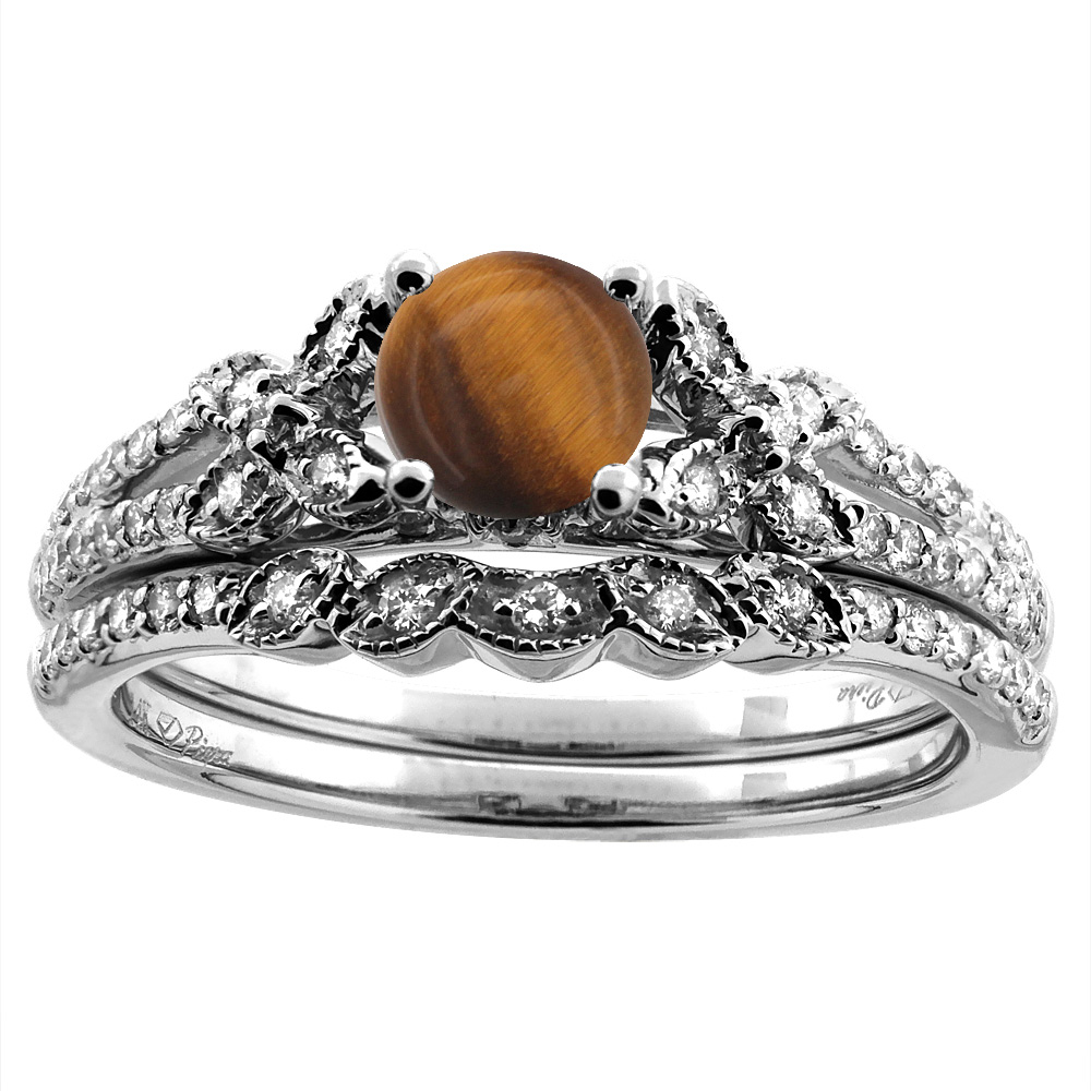 14K White/Yellow Gold Floral Diamond Natural Tiger Eye 2pc Engagement Ring Set Round 5 mm, sizes 5-10