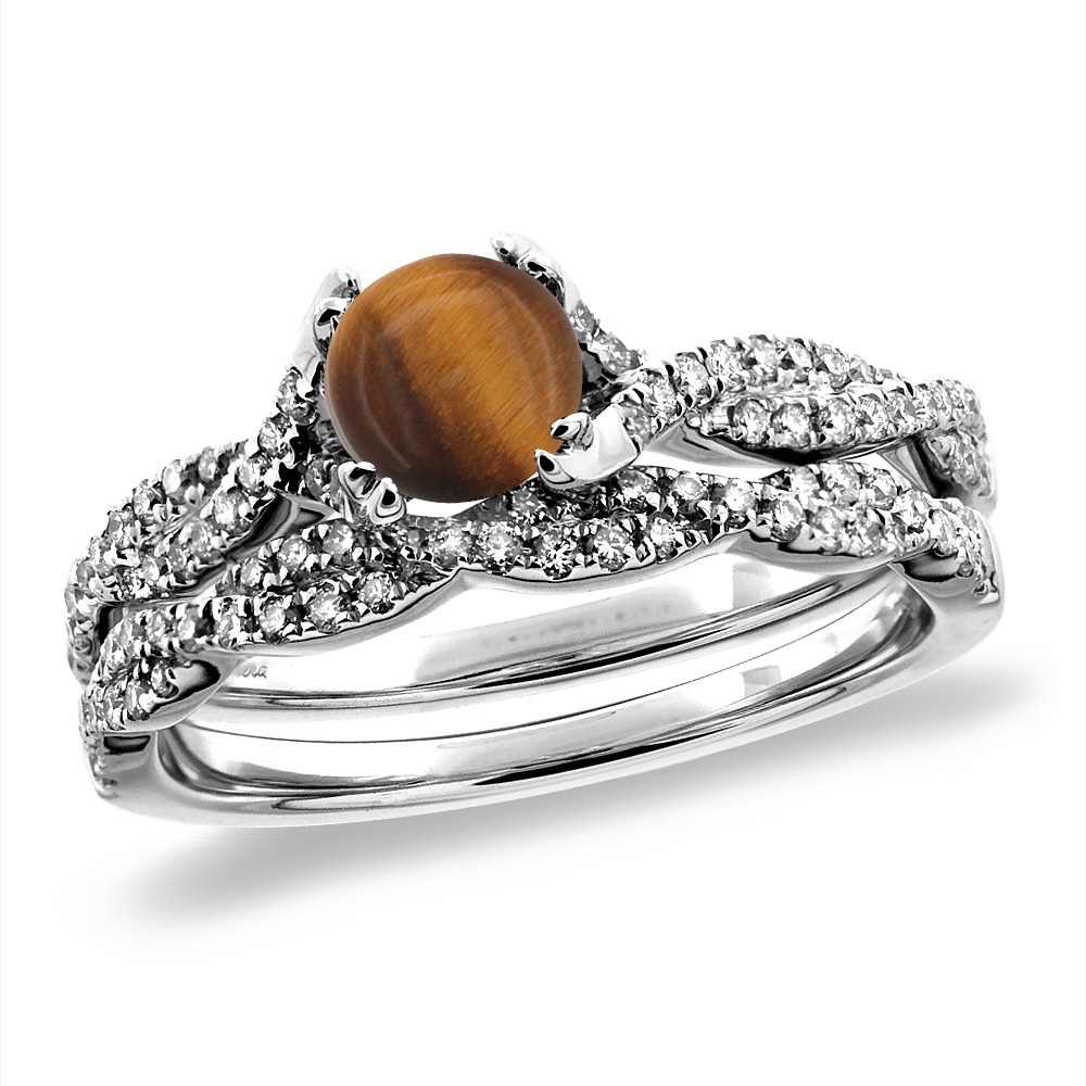14K White/Yellow Gold Diamond Natural Tiger Eye 2pc Infinity Engagement Ring Set Round 5 mm, sizes 5-10