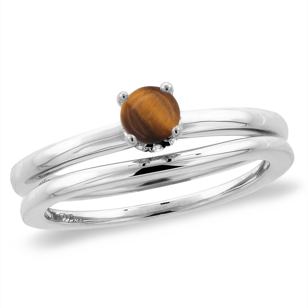 14K White Gold Diamond Natural Tiger Eye 2pc Solitaire Engagement Ring Set Round 5 mm, sizes 5 -10