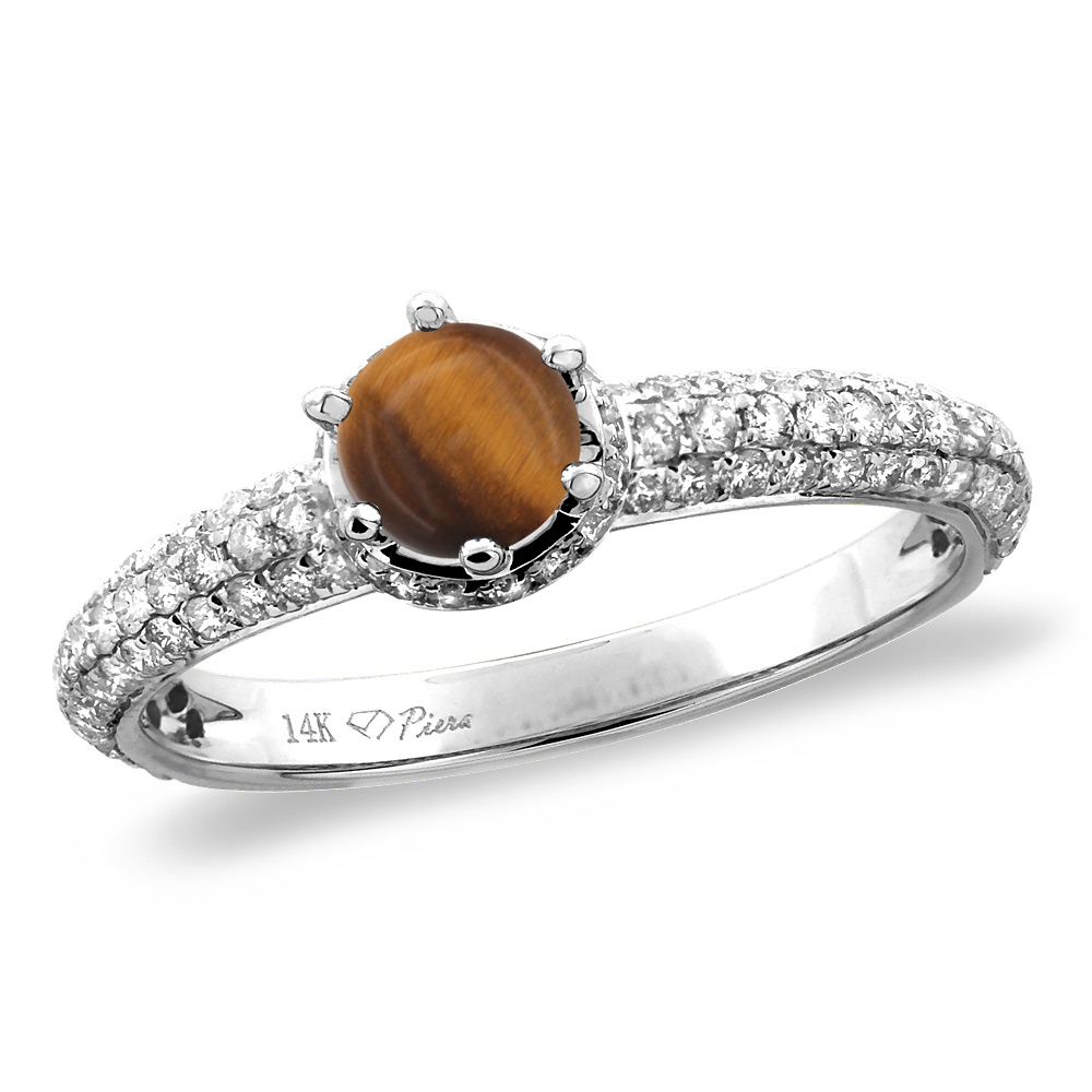 14K White/Yellow Gold Diamond Natural Tiger Eye Engagement Ring Round 5 mm, sizes 5-10