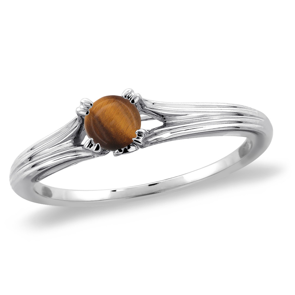 14K White Gold Diamond Natural Tiger Eye Solitaire Engagement Ring Round 5 mm, sizes 5 -10