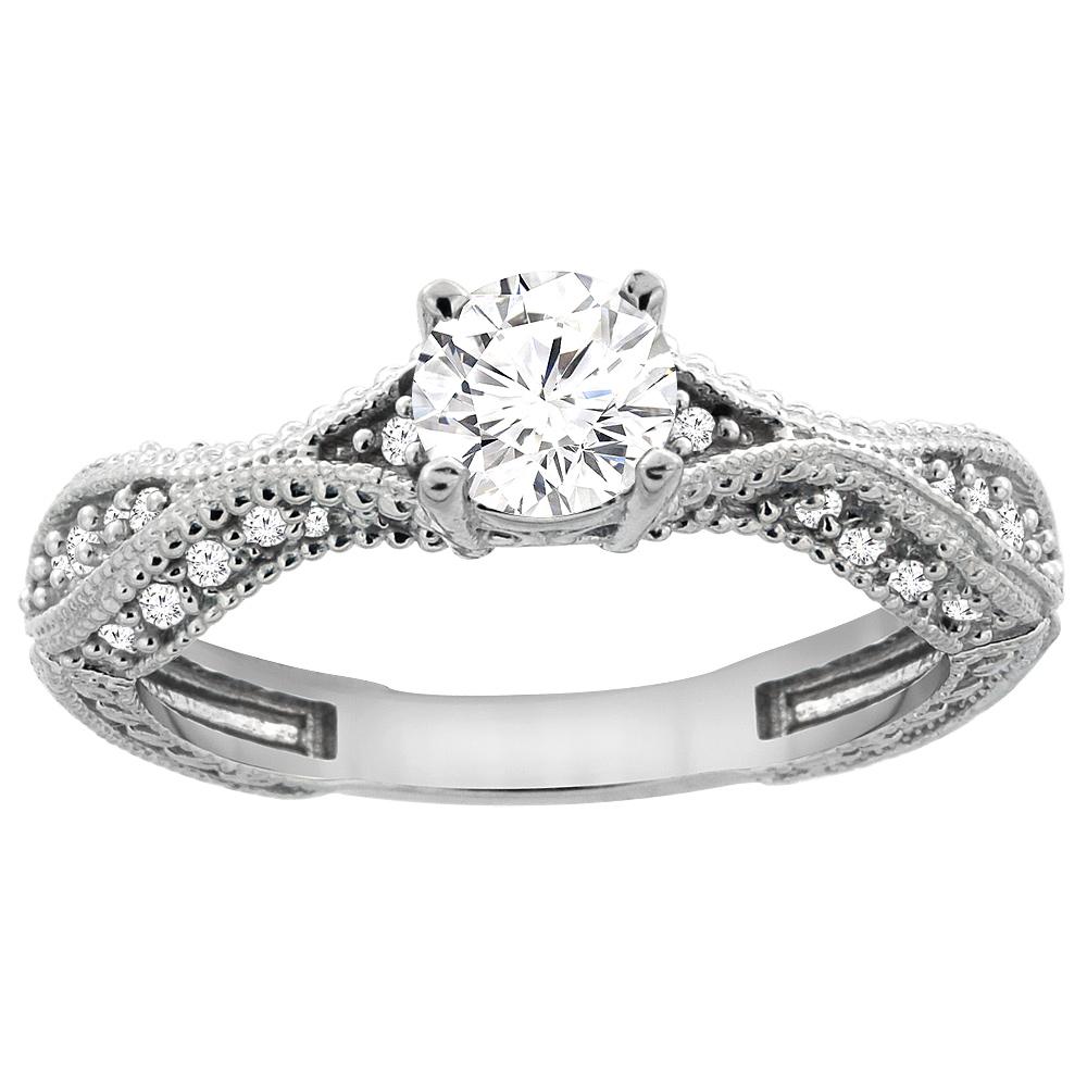 14K White Gold Diamond Engraved Engagement Ring 0.75 cttw, sizes 5 - 10