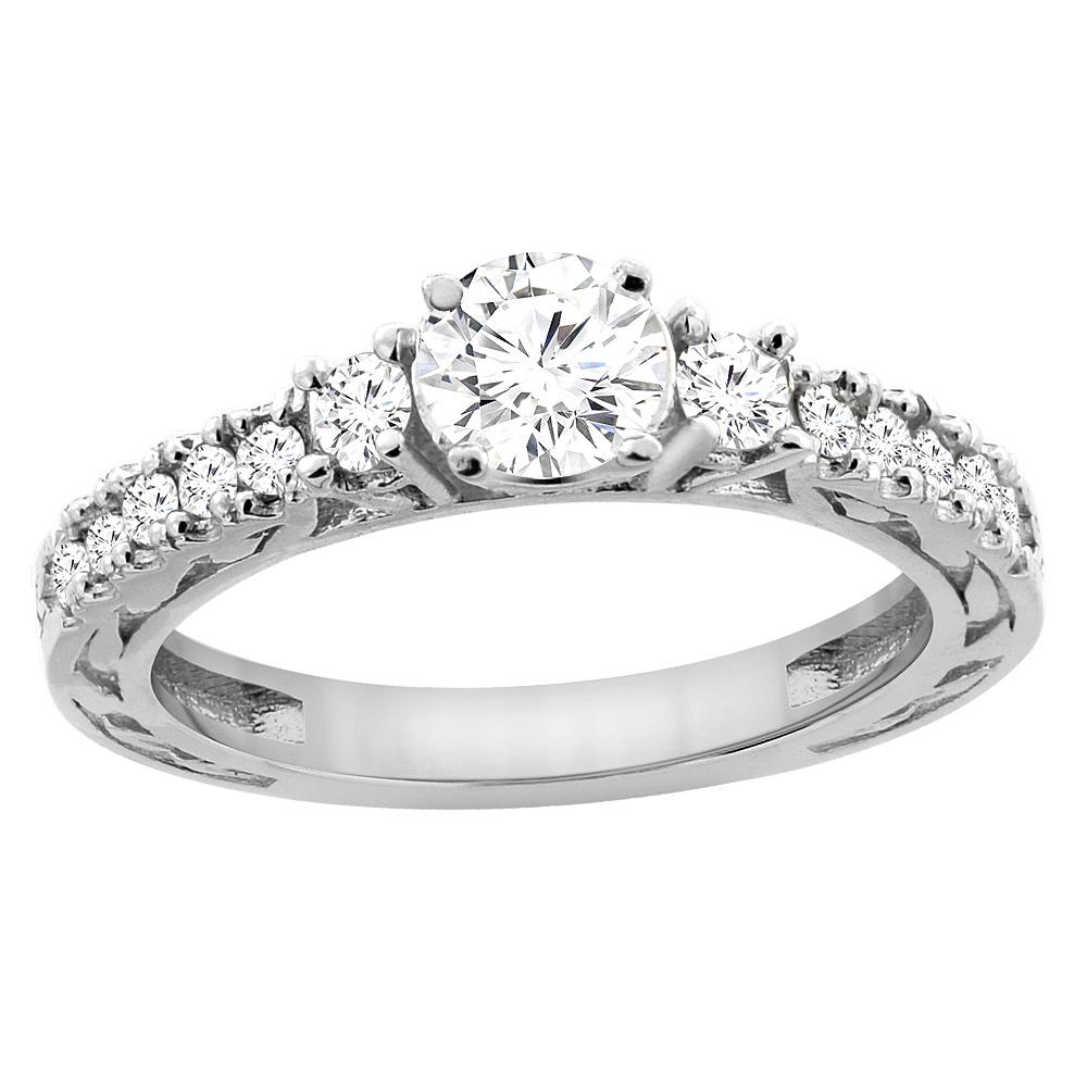 14K White Gold Diamond Engraved Engagement Ring 1.12 cttw, sizes 5 - 10