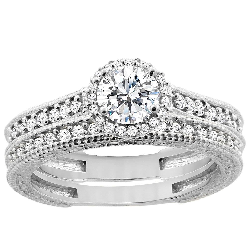 14K White Gold Diamond Engraved 2-piece Engagement Ring Set 0.78 cttw, sizes 5 - 10