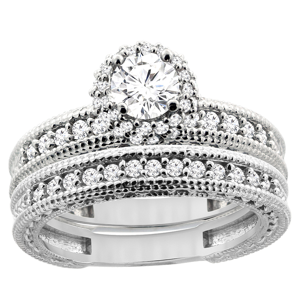 14K White Gold Diamond Engraved Engagement Ring 2-piece Set 0.91 cttw, sizes 5 - 10