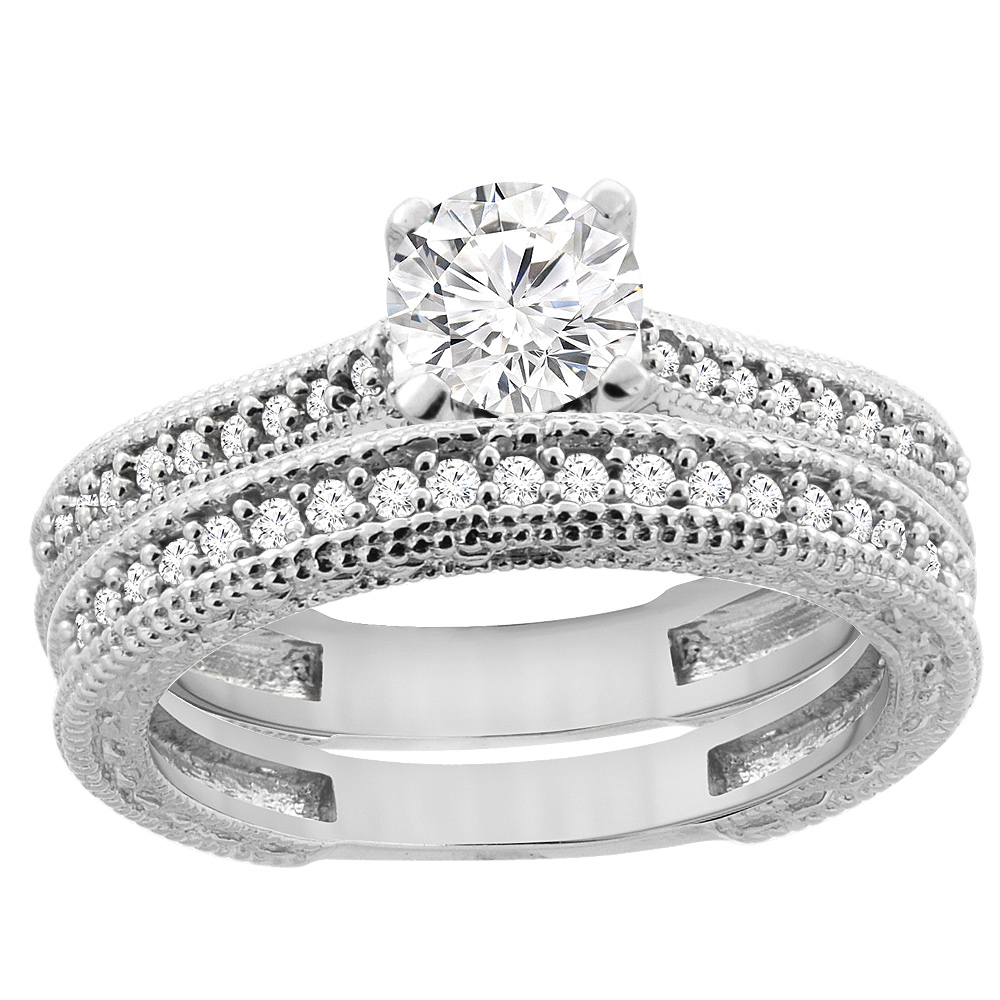 14K White Gold Diamond Engraved Engagement Ring 2-piece Set 0.75 cttw, sizes 5 - 10