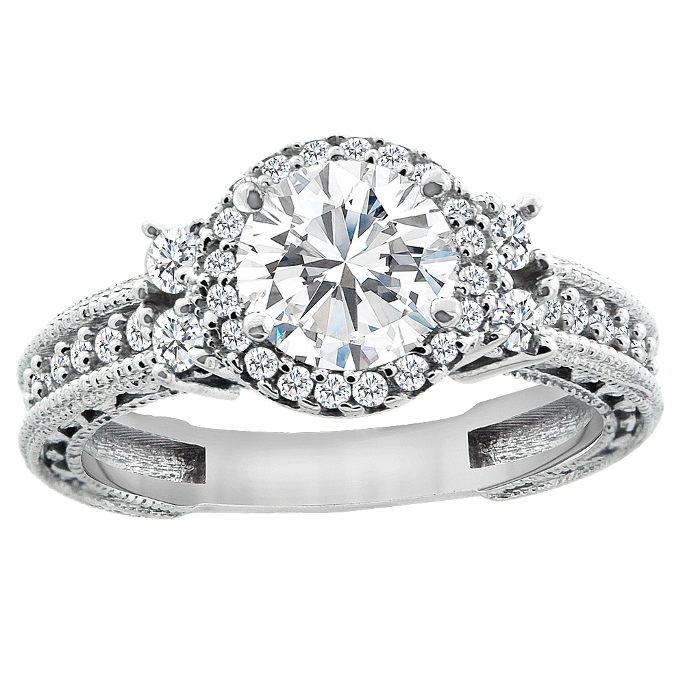 14K White Gold Diamond Halo Engraved Engagement Ring 1.15 cttw, sizes 5 - 10