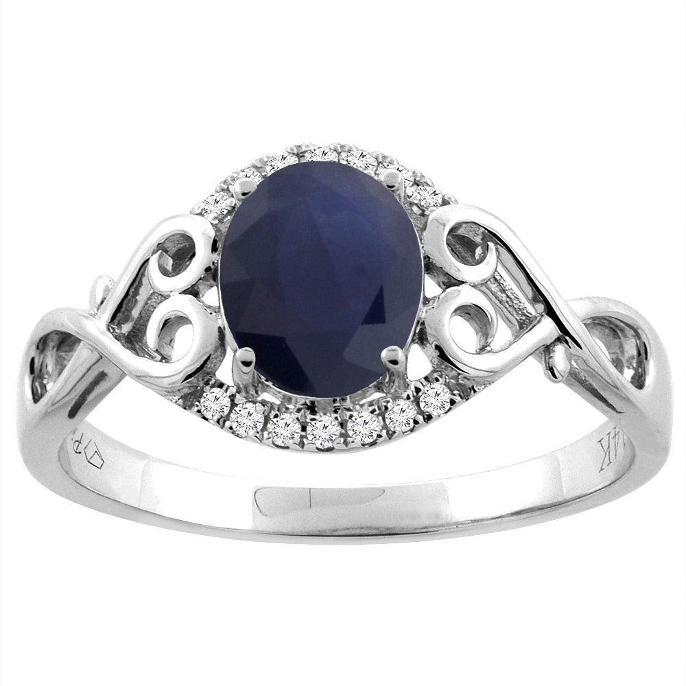 14K Gold Natural Australian Sapphire Ring Oval 8x6 mm Diamond & Heart Accents, sizes 5 - 10