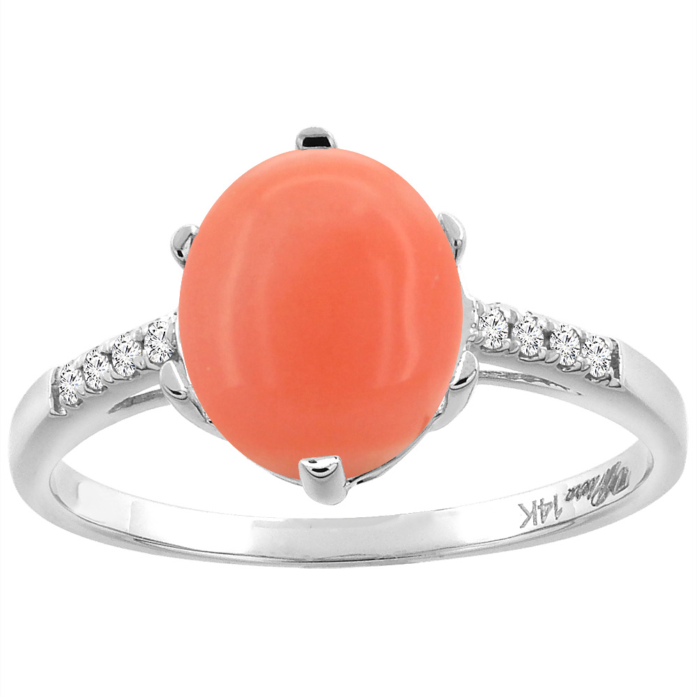 14K White Gold Natural Coral & Diamond Ring Oval 10x8 mm, sizes 5-10