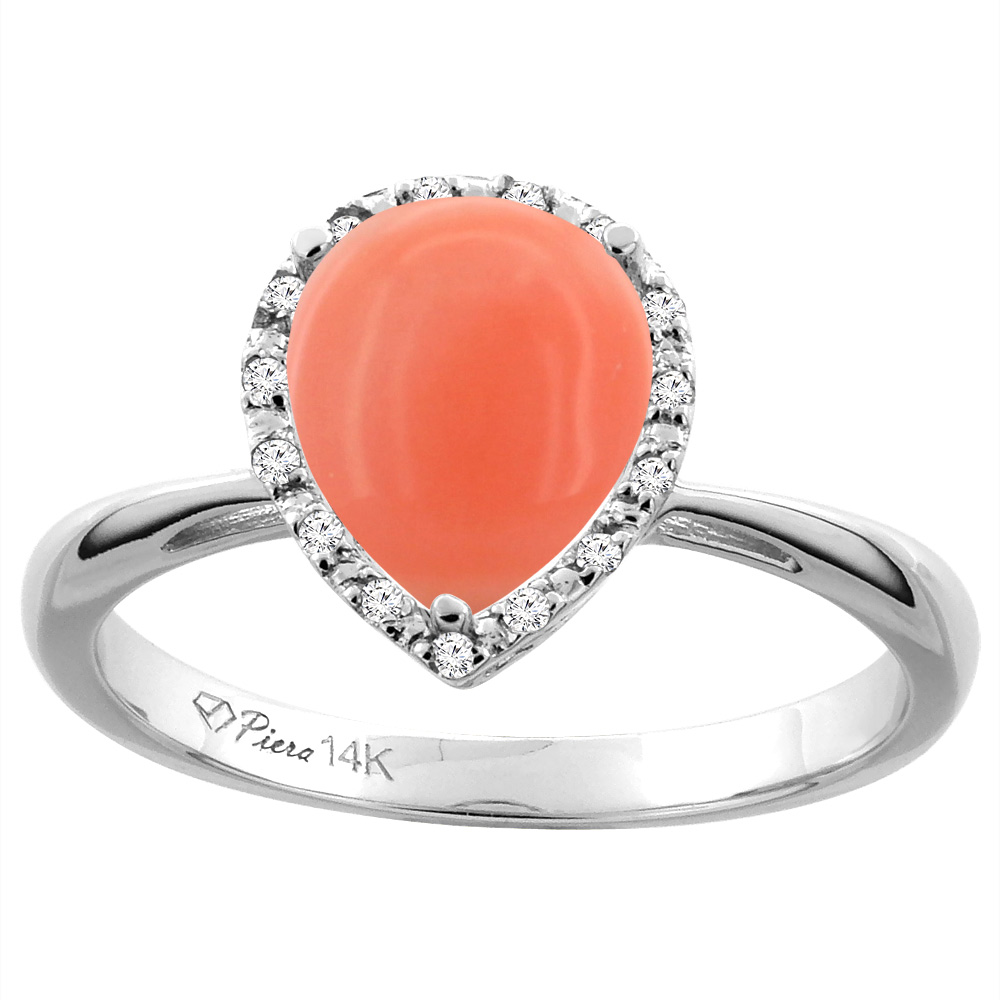 14K White Gold Natural Coral & Diamond Halo Engagement Ring Pear Shape 9x7 mm, sizes 5-10