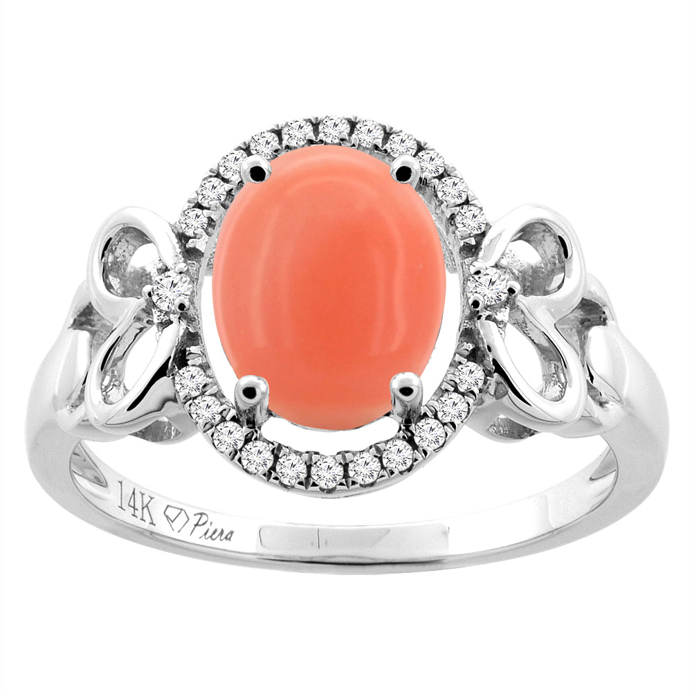 14K Gold Natural Coral Halo Ring Oval 9x7 mm Diamond & Heart Accents, sizes 5 - 10