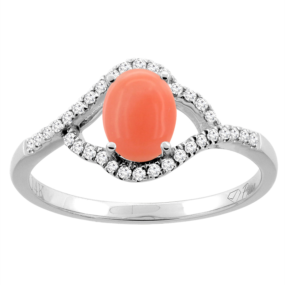 14K Gold Diamond Natural Coral Engagement Ring Oval 7x5 mm, sizes 5 - 10