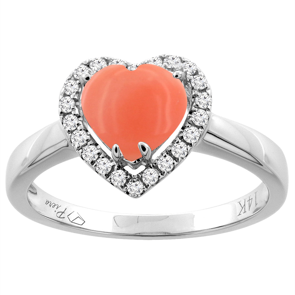14K Gold Natural Coral Halo Ring Heart 7x7 mm Diamond Accents, sizes 5 - 10