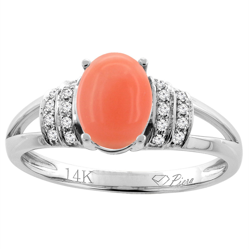 14K Gold Natural Coral Ring Oval 8x6 mm Diamond Accents, sizes 5 - 10