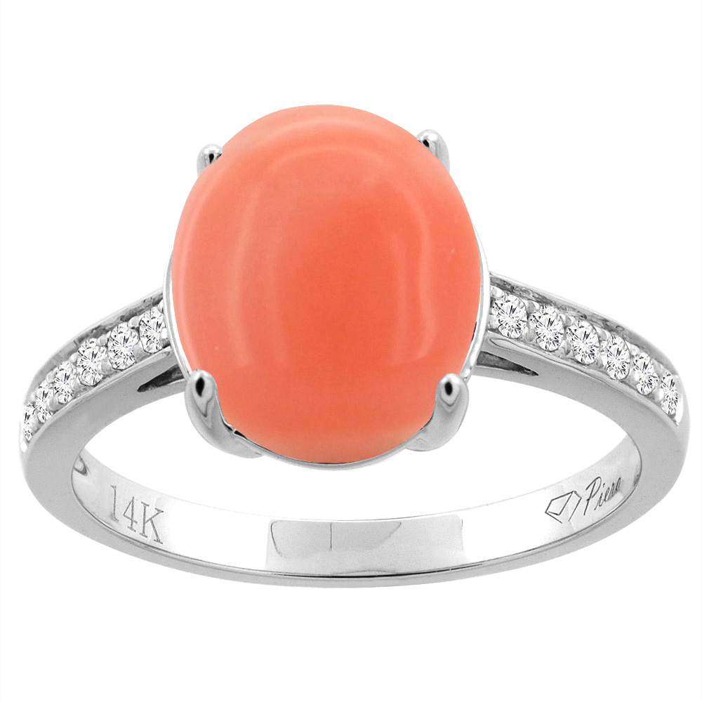 14K Gold Natural Coral Ring Oval 11x9 mm Diamond Accents, sizes 5 - 10