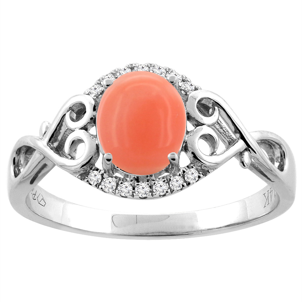 14K Gold Natural Coral Ring Oval 8x6 mm Diamond & Heart Accents, sizes 5 - 10