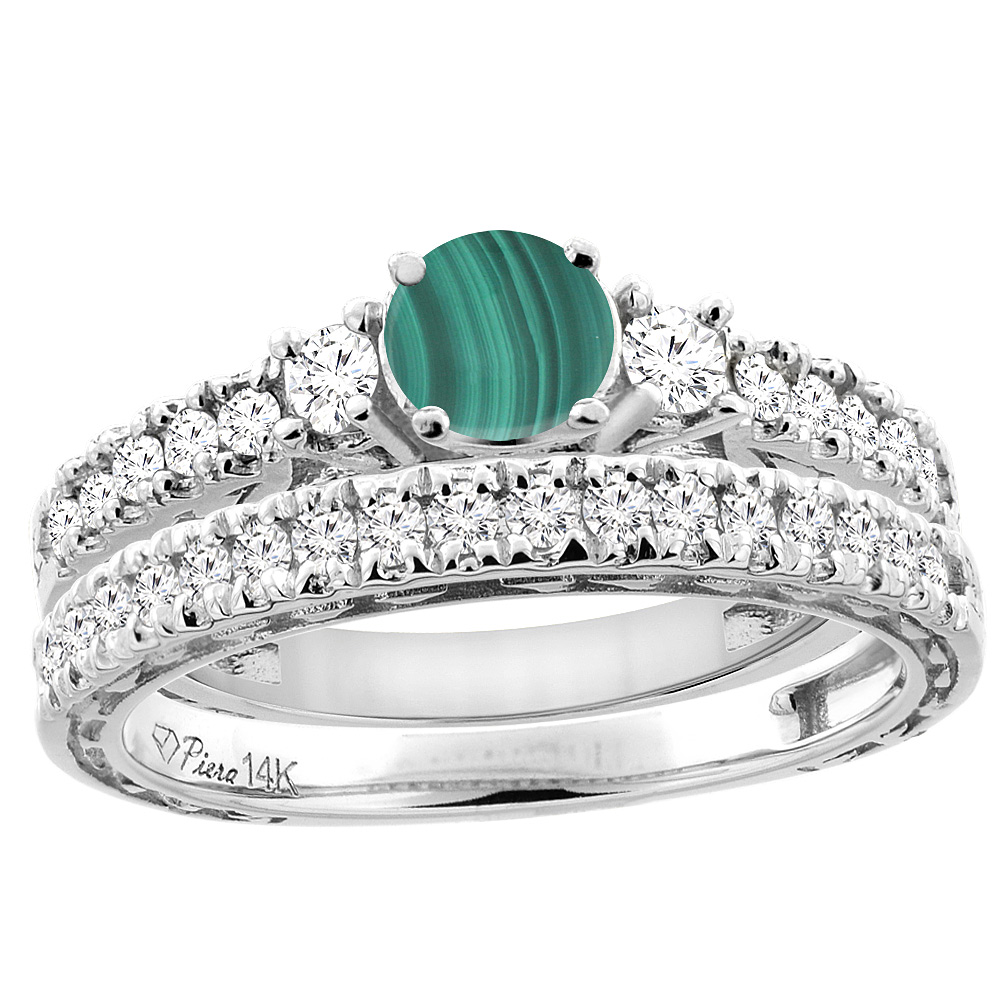 14K White Gold Diamond Natural Malachite Engagement 2-pc Ring Set Engraved Round 6 mm, sizes 5 - 10